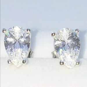 Brand New White Gold on 925 Silver studs Earrings